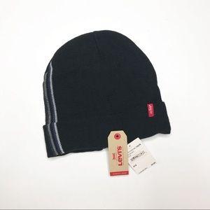 NWT Levi's Men's Black Side Stripe Beanie Hat OS